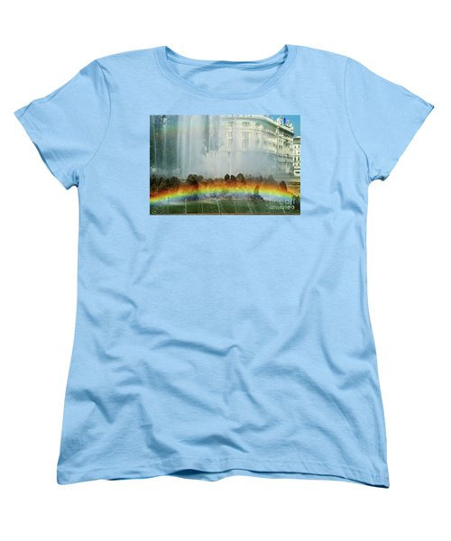 Women's T-Shirt (Standard Cut) featuring the photograph Rainbow Fountain In Vienna by Mariola Bitner