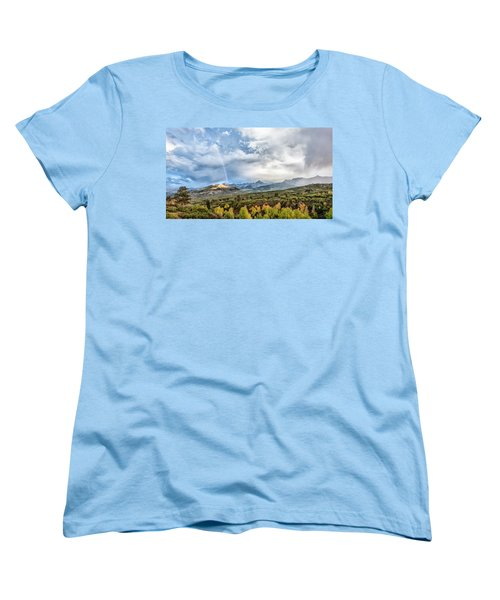 Women's T-Shirt (Standard Cut) featuring the photograph Rainbow In The San Juan Mountains by Jon Glaser