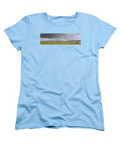Rainbow, Island Of Iona, Scotland Women's T-Shirt (Standard Cut) by John Short