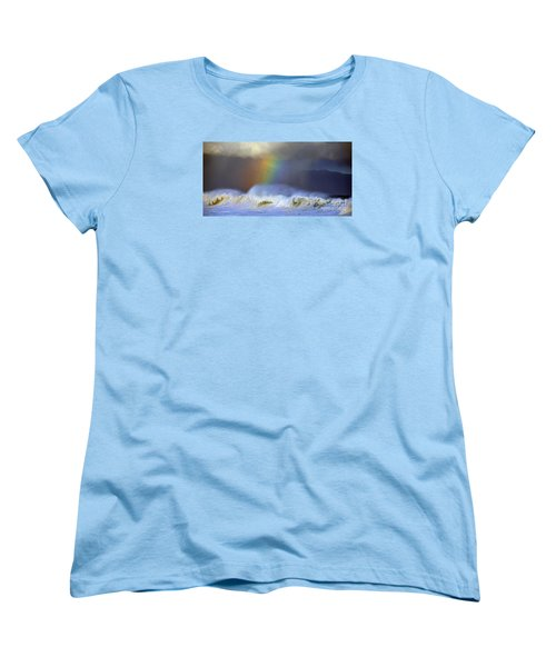 Women's T-Shirt (Standard Cut) featuring the photograph Rainbow On The Banzai Pipeline At The North Shore Of Oahu 2 To 1 Ratio by Aloha Art
