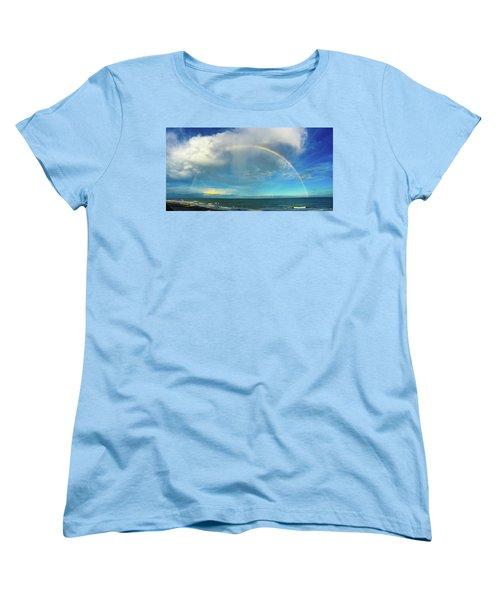 Rainbow Over Topsail Island Women's T-Shirt (Standard Cut) by John Pagliuca