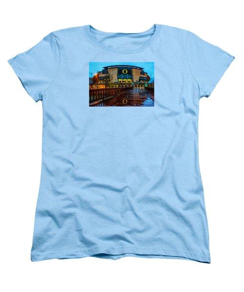 Rainy Autzen Stadium Women's T-Shirt (Standard Cut) by Michael Cross