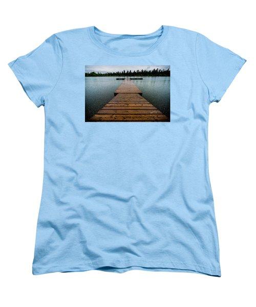 Women's T-Shirt (Standard Cut) featuring the photograph Rainy Dock by Darcy Michaelchuk