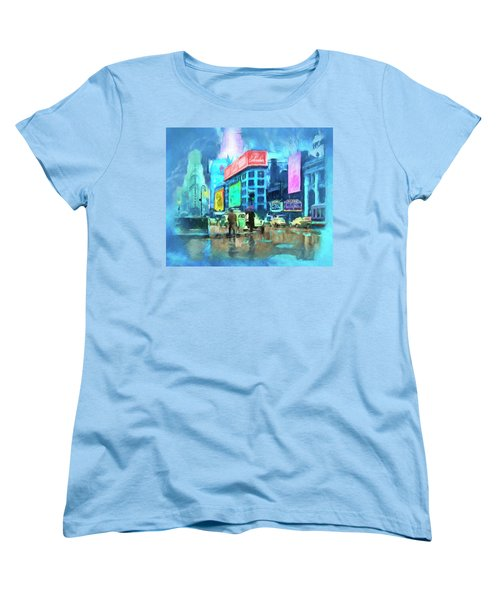 Women's T-Shirt (Standard Cut) featuring the painting Rainy Night In New York by Michael Cleere
