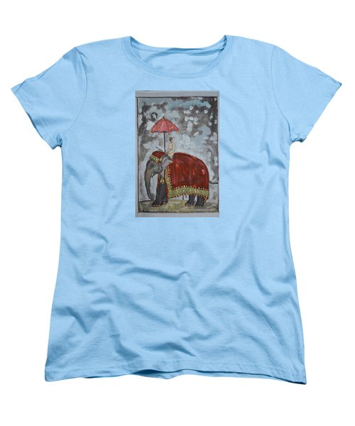 Women's T-Shirt (Standard Cut) featuring the painting Rajasthani Elephant by Vikram Singh