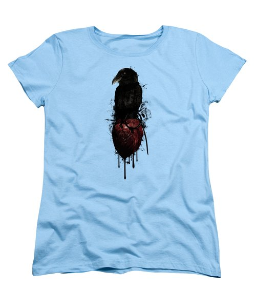 Women's T-Shirt (Standard Cut) featuring the digital art Raven And Heart Grenade by Nicklas Gustafsson