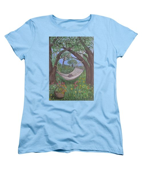 Women's T-Shirt (Standard Cut) featuring the painting Reading Time by Debbie Baker
