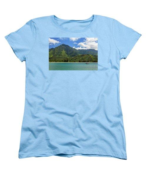 Ready To Sail In Hanalei Bay Women's T-Shirt (Standard Cut) by James Eddy