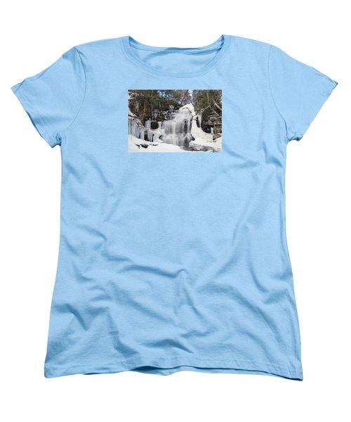 Women's T-Shirt (Standard Cut) featuring the photograph Receding Winter Ice At Ganoga Falls by Gene Walls