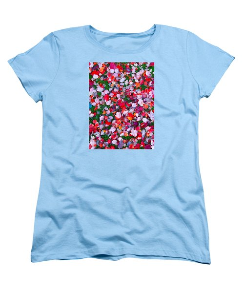 Red And Green Leaves Women's T-Shirt (Standard Cut) by Suzanne Lorenz