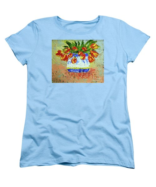 Red And Yellow Tulips Women's T-Shirt (Standard Cut) by Lynda Cookson