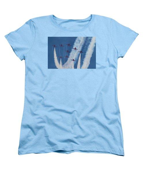 Red Arrows At Duxford Women's T-Shirt (Standard Cut) by Ken Brannen