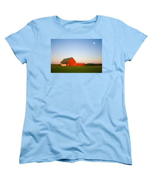 Red Barn And The Moon Women's T-Shirt (Standard Cut) by Alexey Stiop