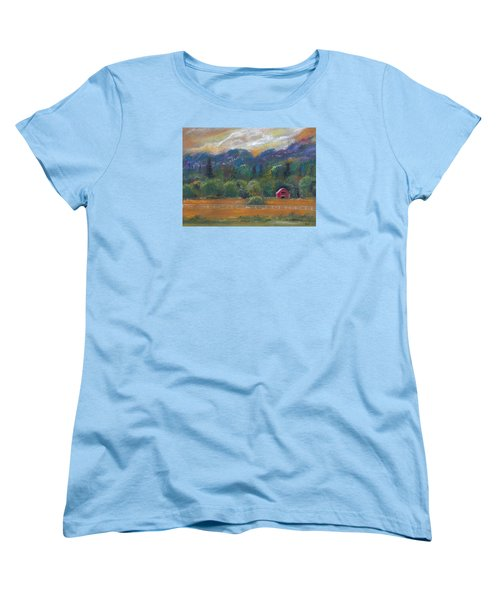 Red Barn Women's T-Shirt (Standard Cut) by Clara Sue Beym