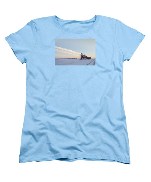 Women's T-Shirt (Standard Cut) featuring the photograph Red Barn by Dan Traun