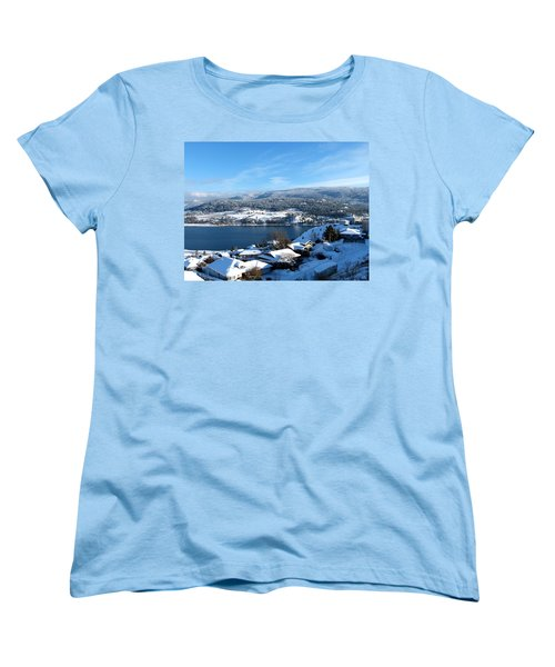 Women's T-Shirt (Standard Cut) featuring the photograph Red Barn In The Distance by Will Borden