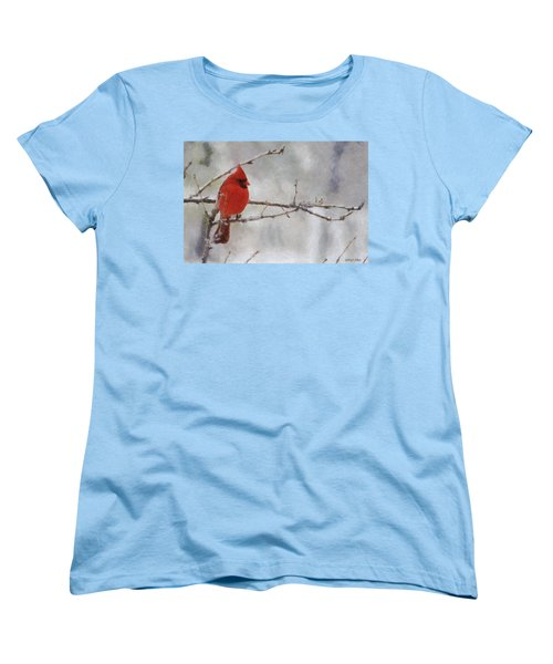 Red Bird Of Winter Women's T-Shirt (Standard Cut) by Jeff Kolker