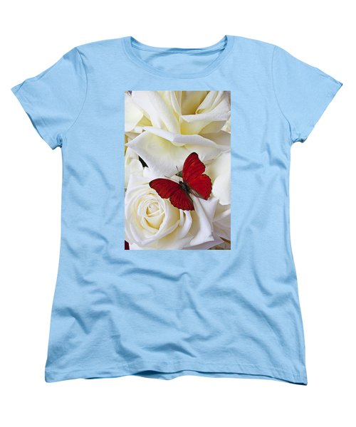 Red Butterfly On White Roses Women's T-Shirt (Standard Cut) by Garry Gay
