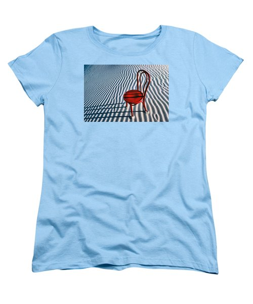 Red Chair In Sand Women's T-Shirt (Standard Cut) by Garry Gay