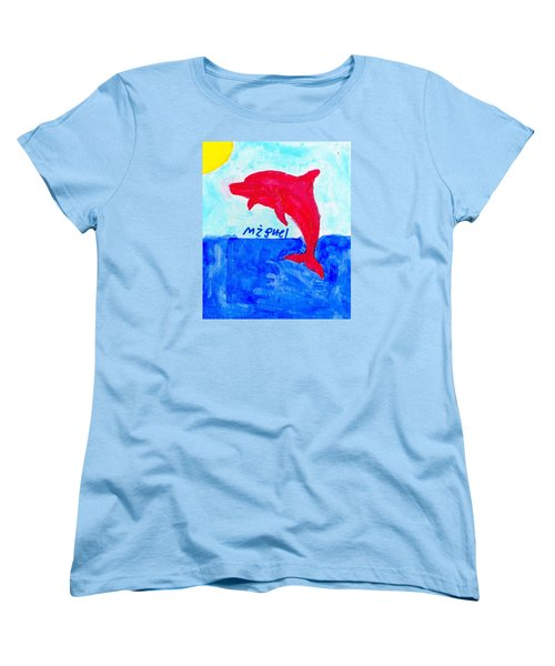 Red Dolphin Women's T-Shirt (Standard Cut) by Artists With Autism Inc