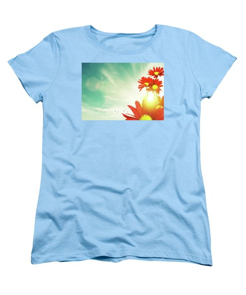 Women's T-Shirt (Standard Cut) featuring the photograph Red Flowers Spring by Carlos Caetano