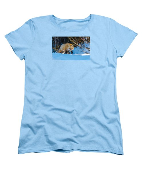 Women's T-Shirt (Standard Cut) featuring the photograph Red Fox In Winter Snow by Yeates Photography