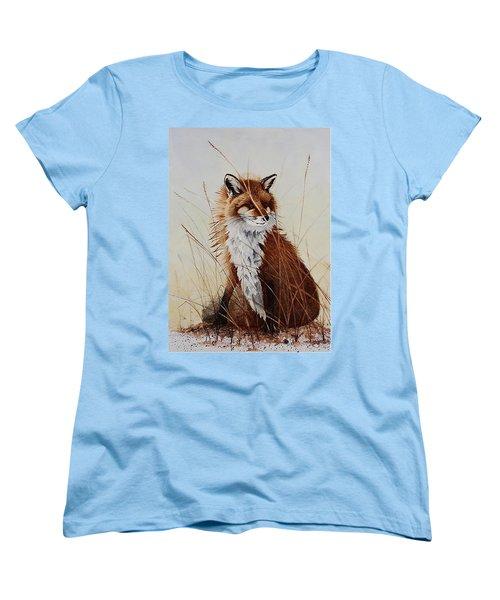 Red Fox Waiting On Breakfast Women's T-Shirt (Standard Cut) by Jimmy Smith