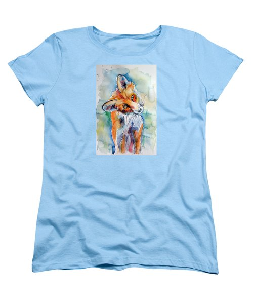 Red Fox Watching Women's T-Shirt (Standard Cut) by Kovacs Anna Brigitta
