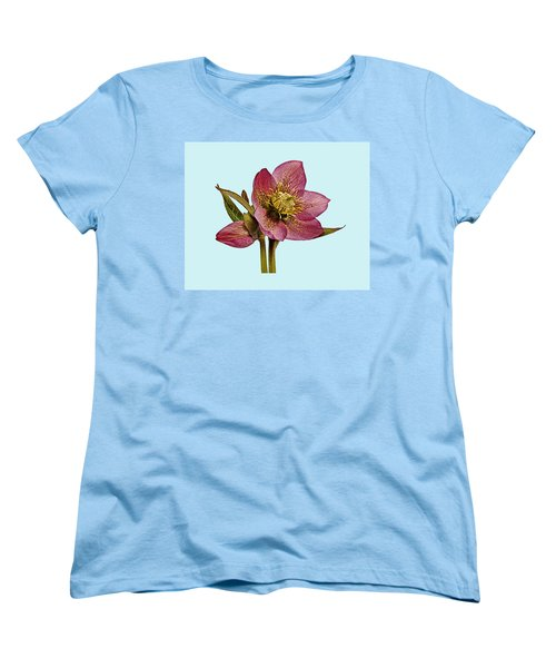 Women's T-Shirt (Standard Cut) featuring the photograph Red Hellebore Blue Background by Paul Gulliver
