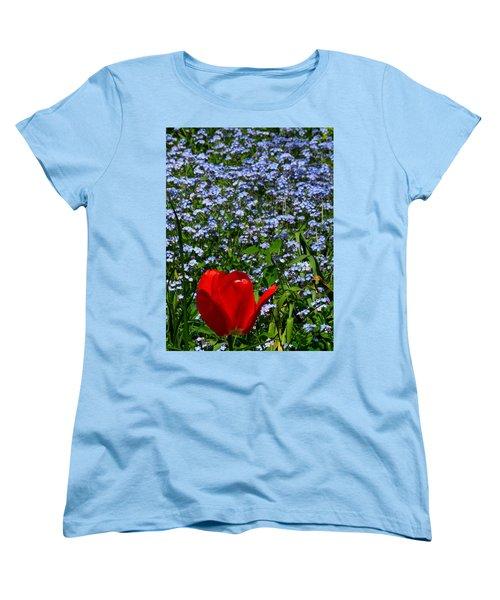 Red In Blue2 Women's T-Shirt (Standard Cut) by John Topman