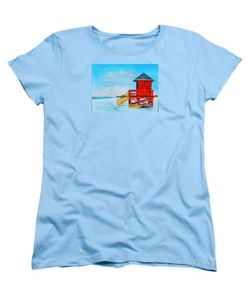 Red Life Guard Shack On The Key Women's T-Shirt (Standard Cut) by Lloyd Dobson