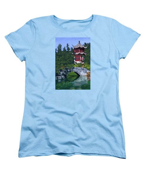 Women's T-Shirt (Standard Cut) featuring the painting Red Pagoda by Lynne Reichhart
