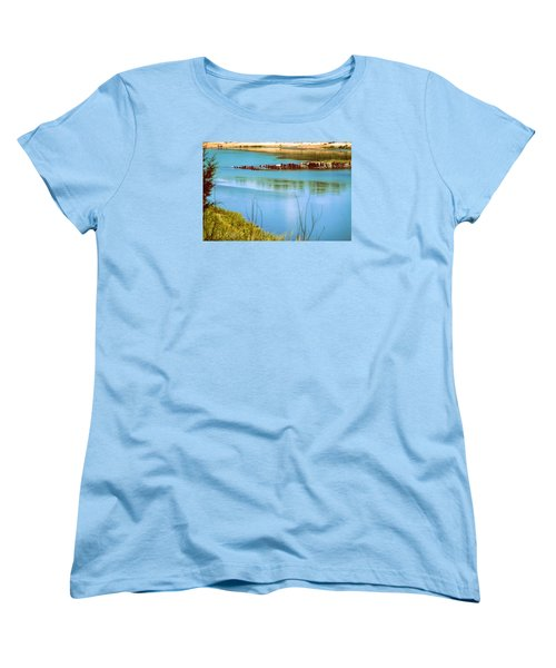 Women's T-Shirt (Standard Cut) featuring the photograph Red River Crossing Old Bridge by Diana Mary Sharpton