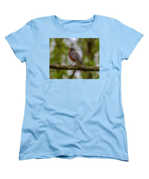 Women's T-Shirt (Standard Cut) featuring the photograph Red Robin by Jerry Cahill