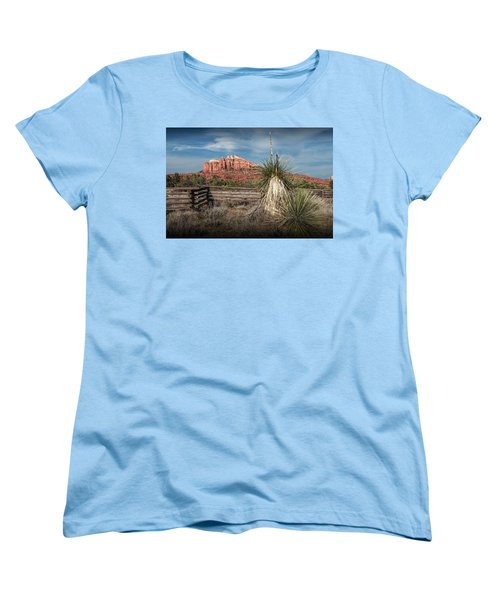 Women's T-Shirt (Standard Cut) featuring the photograph Red Rock Formation In Sedona Arizona by Randall Nyhof