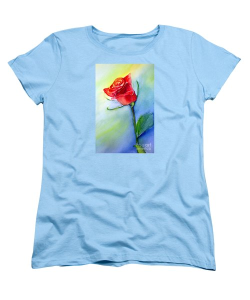 Red Rose Women's T-Shirt (Standard Cut) by Allison Ashton
