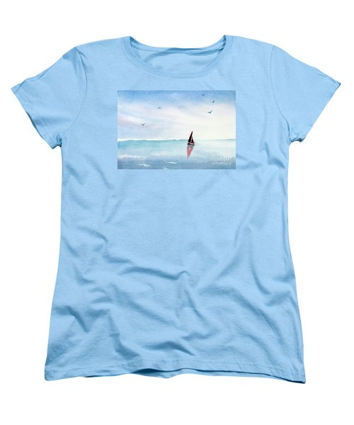 Red Sails On A Blue Sea Women's T-Shirt (Standard Cut) by Pattie Calfy