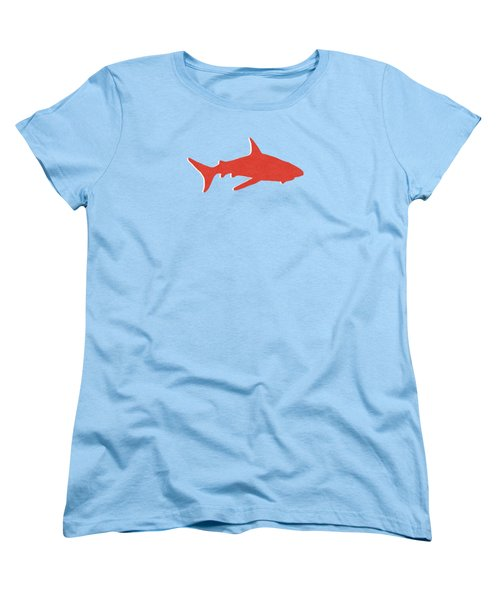 Women's T-Shirt (Standard Cut) featuring the mixed media Red Shark by Linda Woods