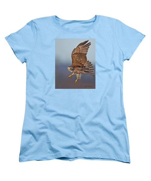 Red-tailed Hawk In Flight Women's T-Shirt (Standard Cut) by CR  Courson