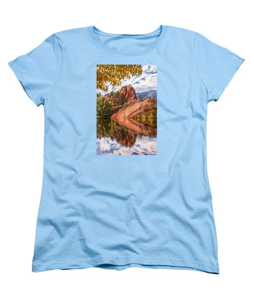 Reflecting At Red Rocks Open Space Women's T-Shirt (Standard Cut) by Christina Lihani