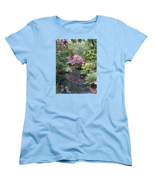 Women's T-Shirt (Standard Cut) featuring the photograph Reflecting Crape-myrtles by Linda Geiger