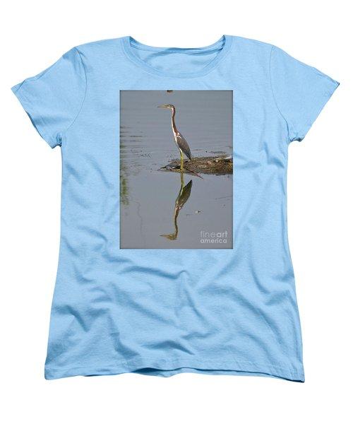 Women's T-Shirt (Standard Cut) featuring the photograph Reflecting Heron by Carol  Bradley