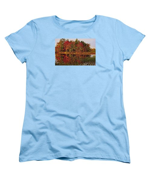 Women's T-Shirt (Standard Cut) featuring the photograph Reflection Island by Kathleen Sartoris
