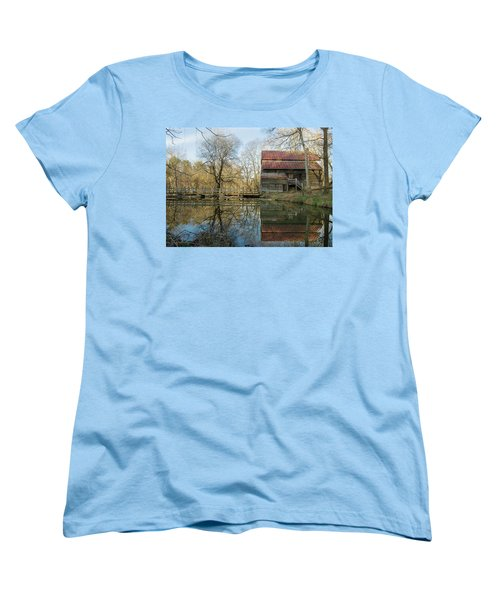 Women's T-Shirt (Standard Cut) featuring the photograph Reflection On A Grist Mill by George Randy Bass