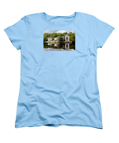 Women's T-Shirt (Standard Cut) featuring the photograph Reflections Of Haverhill On The Merrimack River by Betty Denise