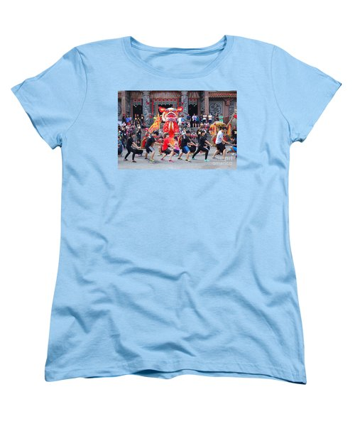 Women's T-Shirt (Standard Cut) featuring the photograph Religious Martial Arts Performance In Taiwan by Yali Shi