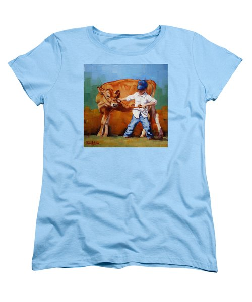 Women's T-Shirt (Standard Cut) featuring the painting Reluctant Showgirl by Margaret Stockdale