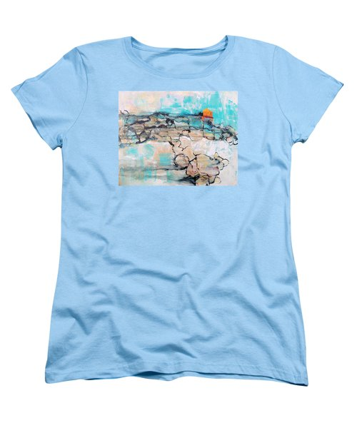 Women's T-Shirt (Standard Cut) featuring the painting Retreat by Mary Schiros