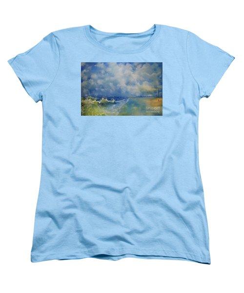 Women's T-Shirt (Standard Cut) featuring the painting Retrospection Seascape by Maja Sokolowska