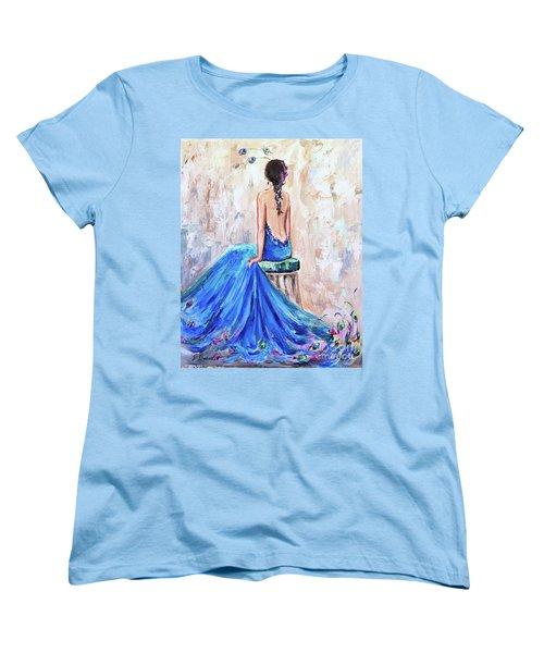 Women's T-Shirt (Standard Cut) featuring the painting Rhapsody In Blue by Jennifer Beaudet